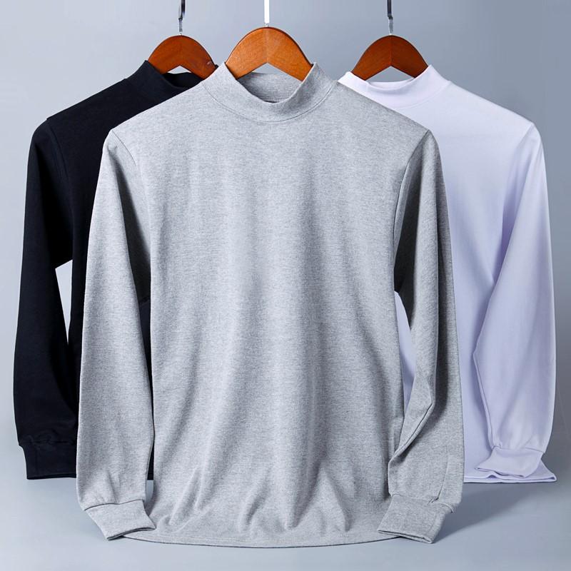男士中高领棉单件上衣中老年春秋保暖内衣秋衣衬衣青年棉毛衫