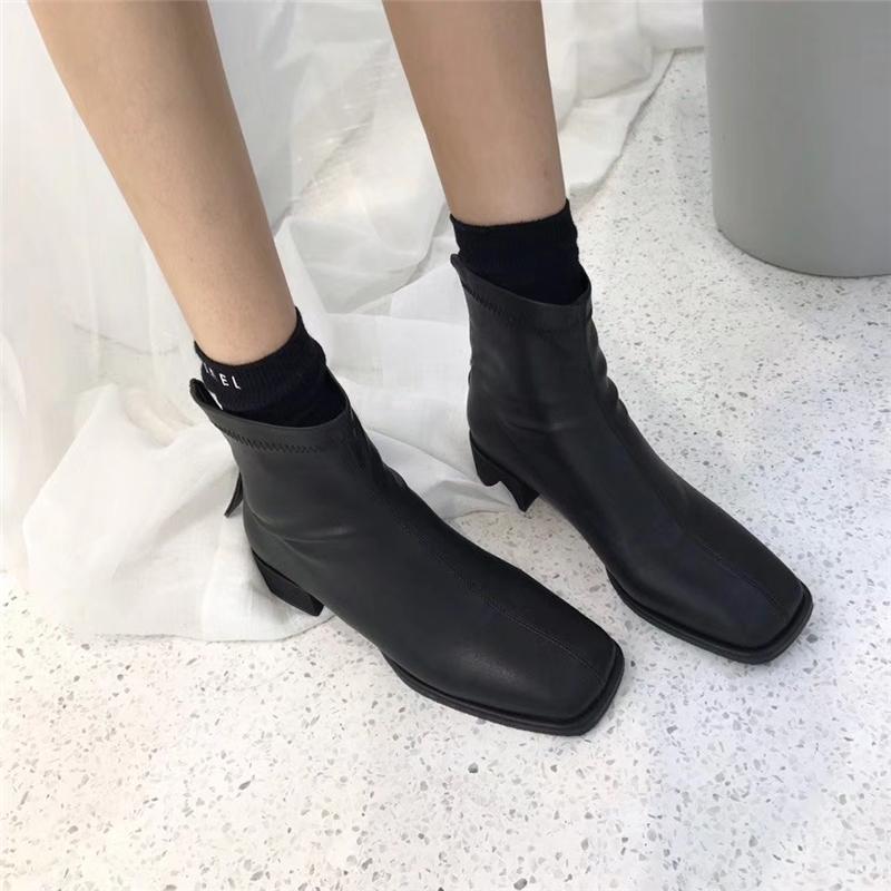 韩版简约百搭平底鞋平跟中跟方头短筒靴裸靴及踝靴弹力靴骑士女靴