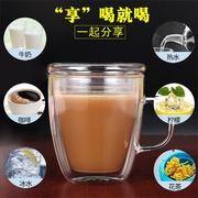 协龙腾定制耐高温玻璃咖啡杯牛奶杯双层隔热茶杯水杯大容量马克杯