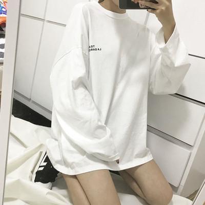 春秋装韩版中长款长袖T恤女宽松百搭圆领白色打底衫学生bf上衣服