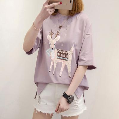 韩版夏季上衣服大童宽松短袖t恤初中学生五分七分中袖女闺蜜夏装