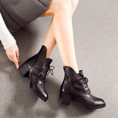 春秋真皮女短靴镂空粗跟女鞋短筒系带单靴子中跟马丁靴透气洞洞靴