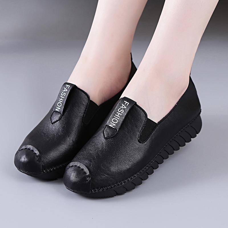 套脚乐福鞋女春秋懒人鞋软底妈妈鞋平底皮鞋松糕单鞋豆豆鞋散步鞋