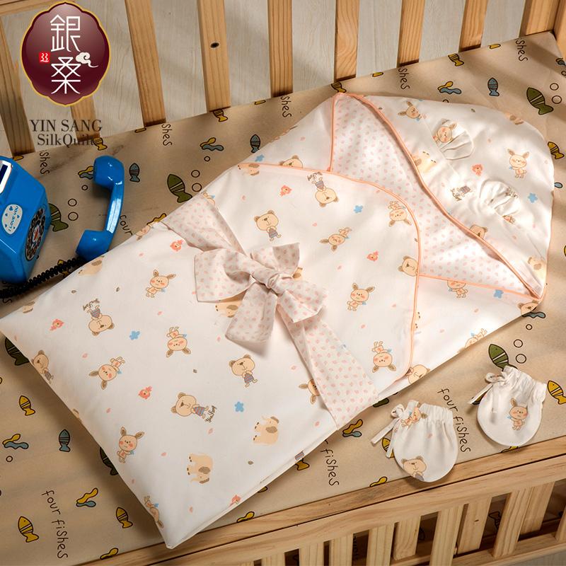 银桑新生婴儿抱被夏季薄款手工抱被春初生婴儿抱被纯棉桑蚕丝填充