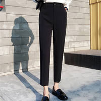 Suit pants female slim feet Harlan loose nine pants high waist straight tube black casual large size small trousers