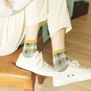 秋季舒适袜子女方格子短袜复古日系韩版学院风打底长袜中筒袜潮