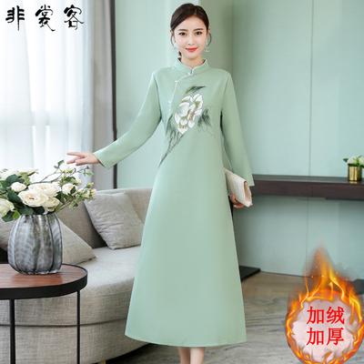 秋冬季款保暖旗袍女冬装 加绒加厚 中国风改良版复古中长款连衣裙