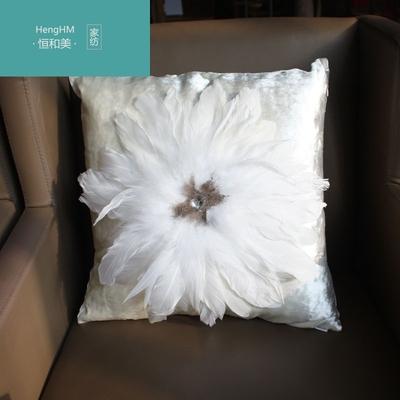 恒和美水钻大羽毛白色黑色客厅沙发抱枕靠垫欧式轻奢靠枕床头上靠