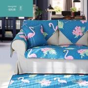 恒和美沙发垫美式乡村田园花朵叶子纯棉防滑沙发巾盖布罩套定做