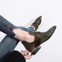 英伦风尖头马丁靴及踝靴粗跟高跟及裸靴春秋单靴子磨砂皮短靴女靴