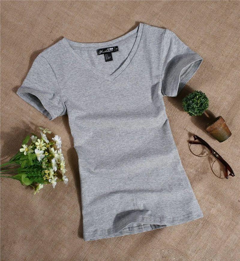 Women's short - sleeved T-shirt pure cotton simple white sum