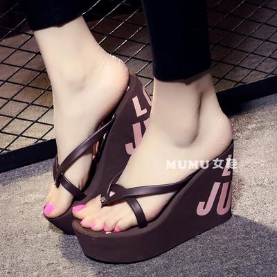 高跟人字拖11cm坡跟拖鞋厚底防滑凉拖鞋32-43码小码大码女鞋