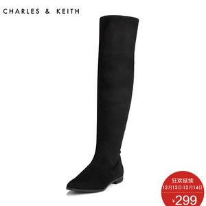 CHARLES&KEITH秋冬女靴CK1-90900040欧美尖头长靴时尚显瘦长筒靴