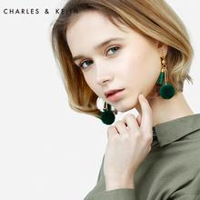 CHARLES&KEITH耳环CK5-42120163甜美风流苏毛球装饰耳环