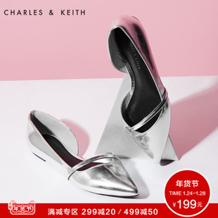 CHARLES&KEITH镂空女鞋CK1-70900014小尖头舒适绒面休闲平底单鞋