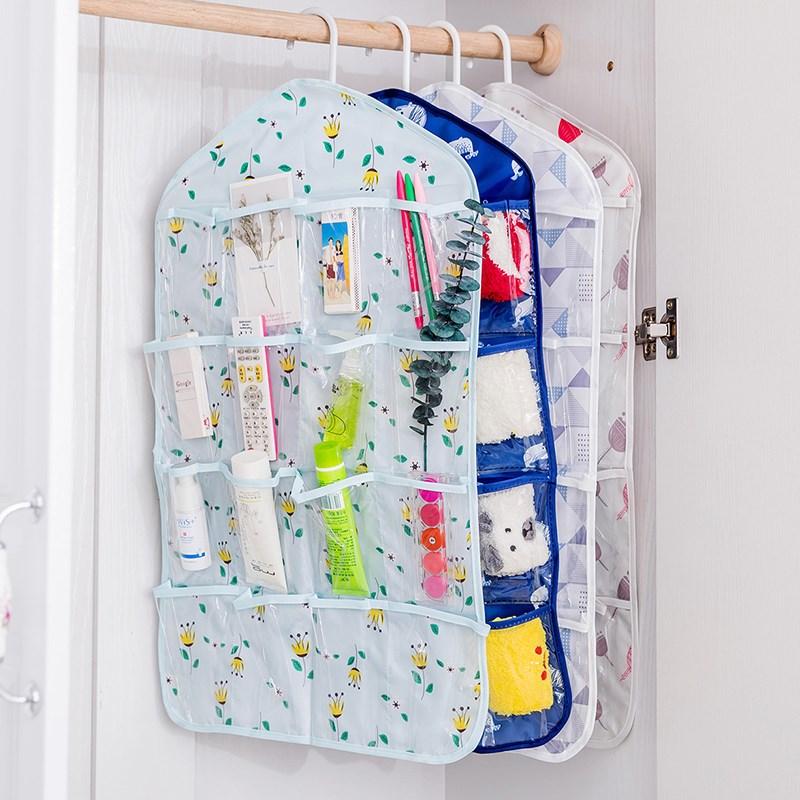 挂袋衣柜透明16格门后墙上悬挂墙挂式收纳挂袋衣柜内衣分类收纳
