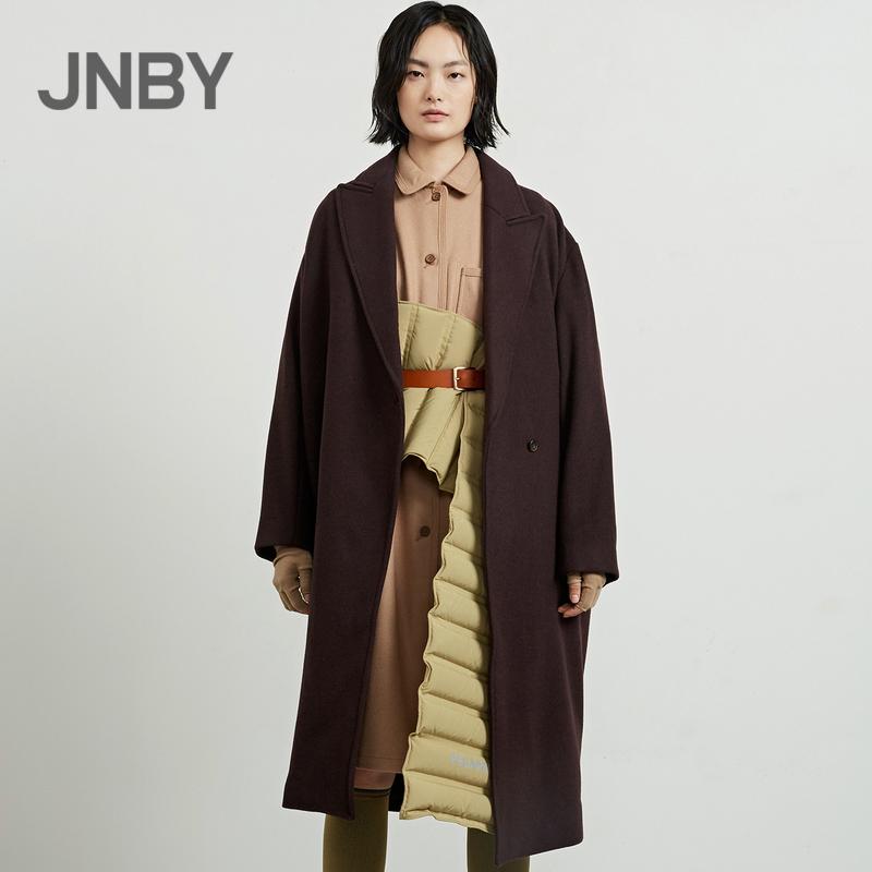 JNBY/江南布衣2018冬新品长款简约收腰毛呢大衣外套女5H0241180