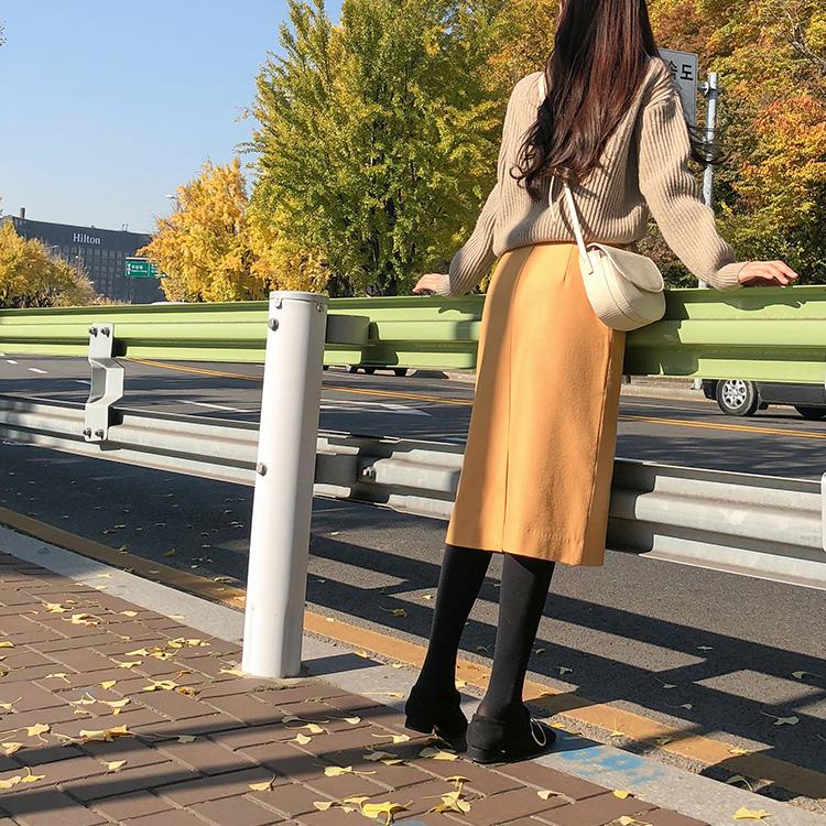 韩国正品CRKO女装百搭时尚纯色优雅休闲直筒长裙代购进口11月官网