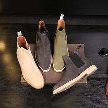 春秋男士高帮鞋common磨砂真皮切尔西英伦短靴尖头套筒潮男皮靴子