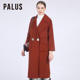 PALUS 双面毛呢大衣外套女新款驼色落肩袖羊毛呢子大衣中长款8021图片