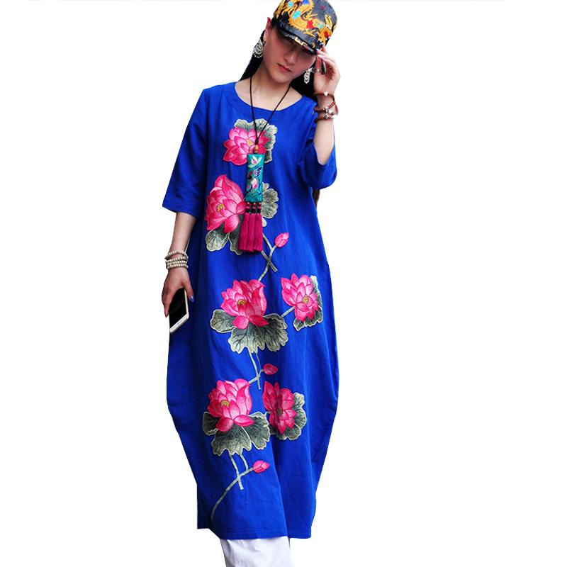高档棉麻连衣裙