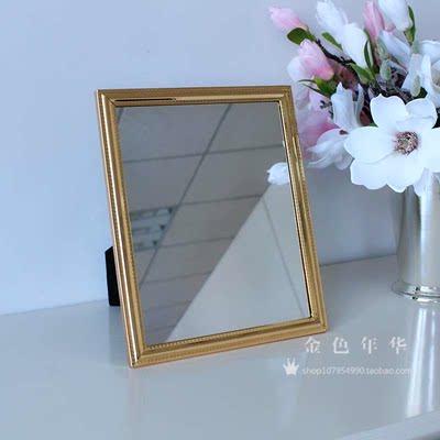 复古单面台式镜子 大号方形镜 10寸欧式礼品梳妆镜高清便携化妆镜