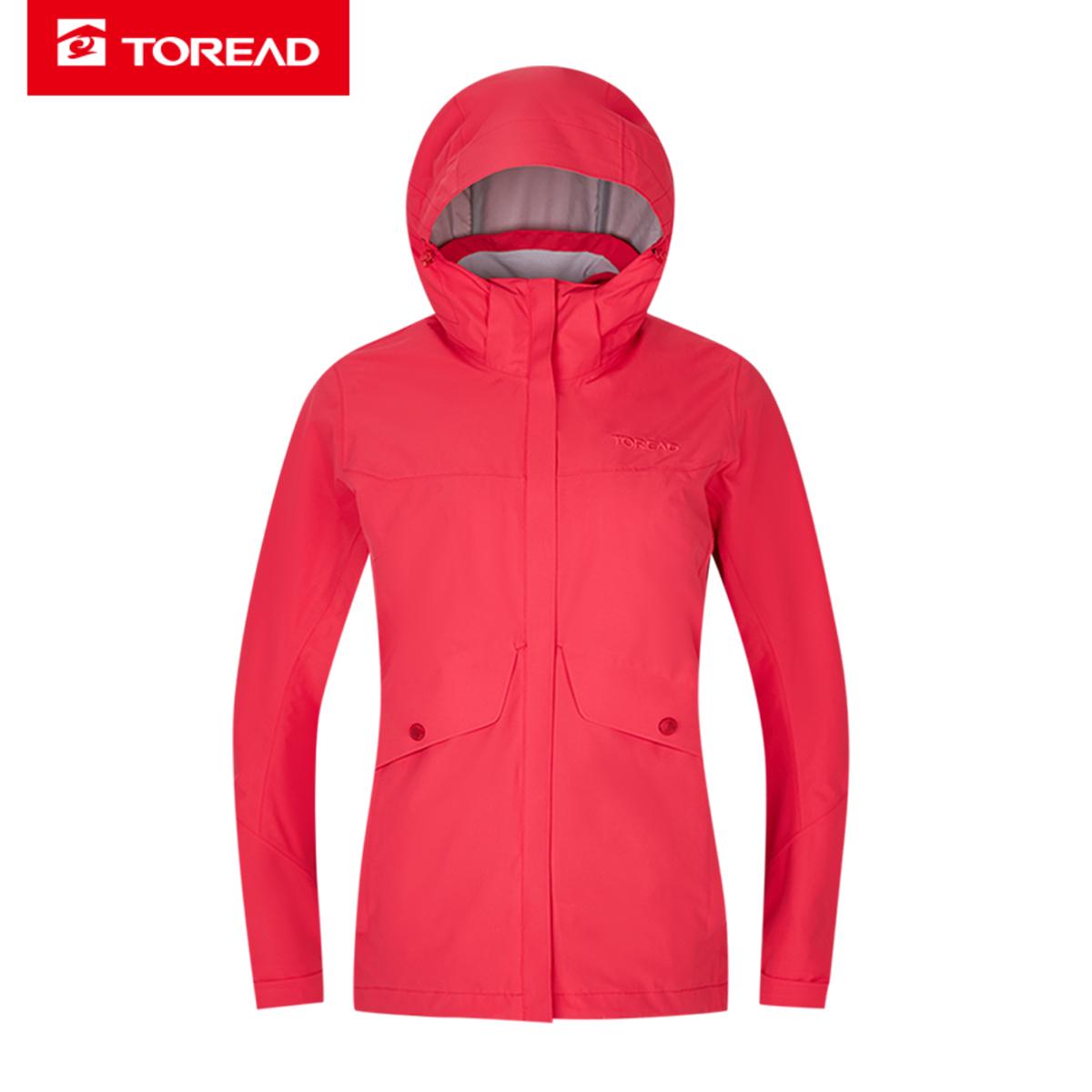 探路者冲锋衣 19秋冬户外女式保暖防水套抓绒冲锋衣TAWH92172