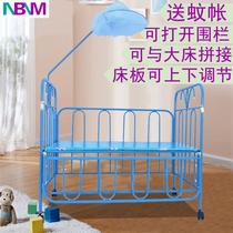 高档可折叠实木床多功能大床品牌可童床摇篮拼接铁艺床bb床铁床婴