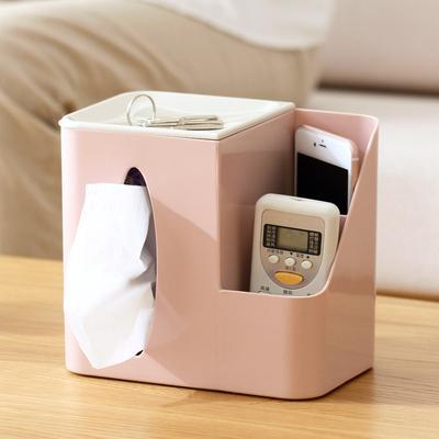 创意客厅桌面纸巾盒多功能遥控器收纳盒茶几塑料抽纸盒家用卷纸筒