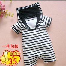夏装薄海军条纹短袖哈衣爬服宝宝纯棉婴儿连体衣服装夏天装HX97
