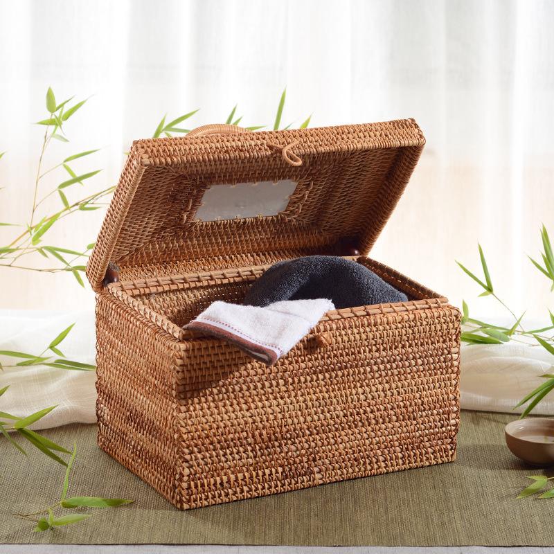 越南藤编收纳箱整理箱茶叶药物收纳盒家用手工编织手提小箱子