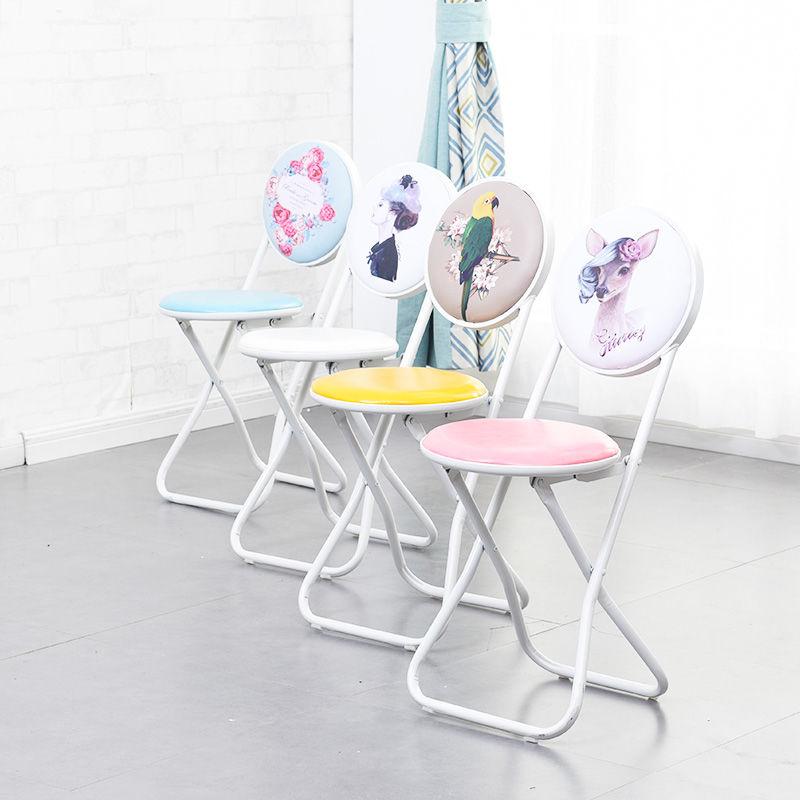 简易靠背椅子折叠椅便携小凳子成人折叠凳餐椅电脑椅凳子家用圆凳