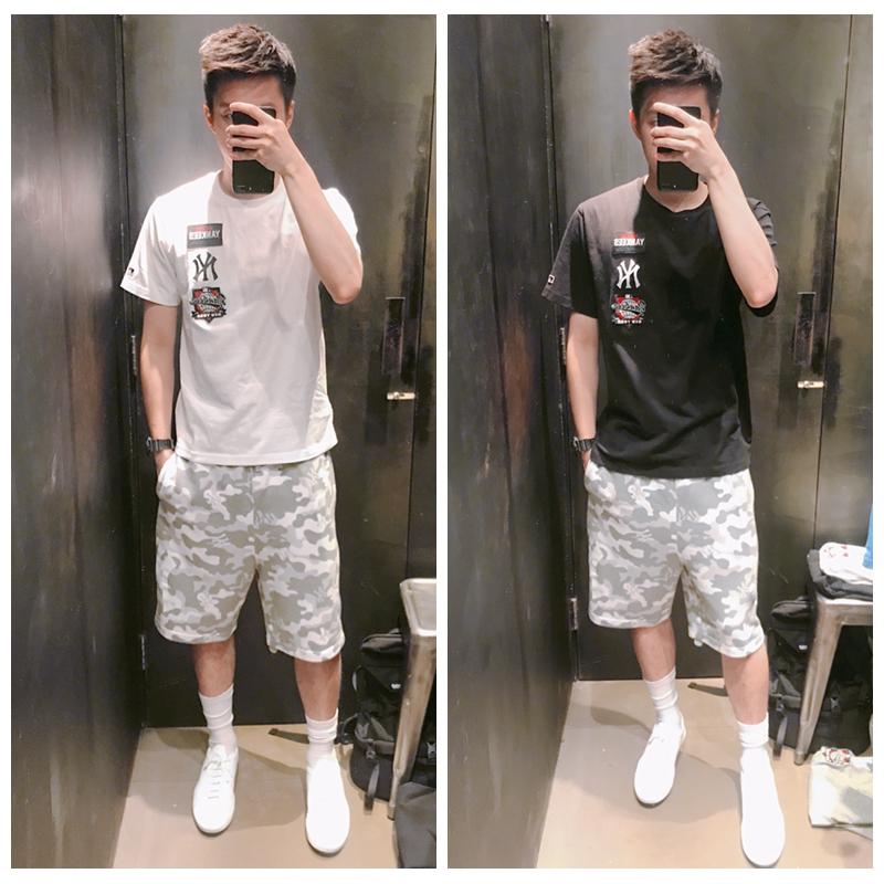 【海龟】香港代购it MLB 18 夏男 时尚徽章LOGO印花图案短袖T恤