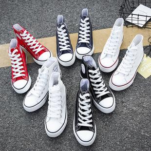 2019秋季高幫帆布女鞋韓版百搭ulzzang潮鞋學生新款小白秋鞋板鞋