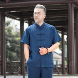 Chinese wind Tang dress men linen summer grandpa old man clothes dad cotton linen short-sleeved suit in the old-age summer dress