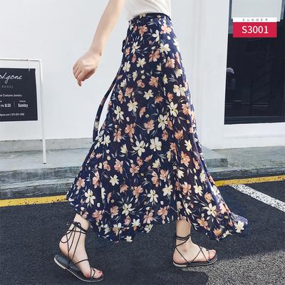 一片式半身裙女夏中长款不规则海边沙滩泰国度假雪纺系带碎花裹裙