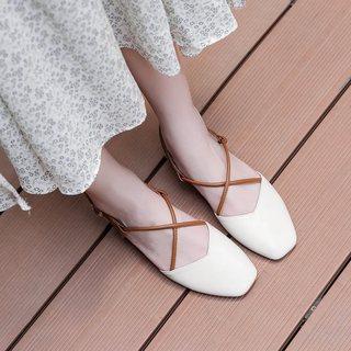 2019春季新款仙女鞋粗跟复古时尚单鞋凉鞋中跟方头百搭韩版奶爆款