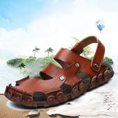 男士 夏季透气缕空包头两用凉鞋 大码 沙滩鞋 47真皮正品 男凉鞋