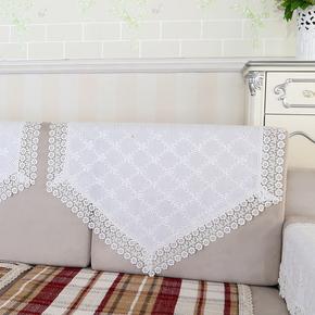 沙发靠背巾沙发巾布艺床头罩扶手巾沙发套欧式盖巾蕾丝白色靠垫巾