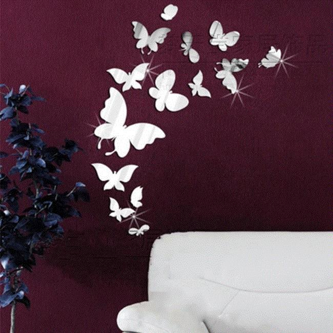 DIY 3D Mirror Butterfly Home Decor Wall Sticker For Kids Roo