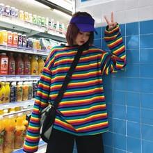 女款 TEE炒鸡好看打底衫 2018冬季韩版 ulzzang原宿风彩虹条纹长袖