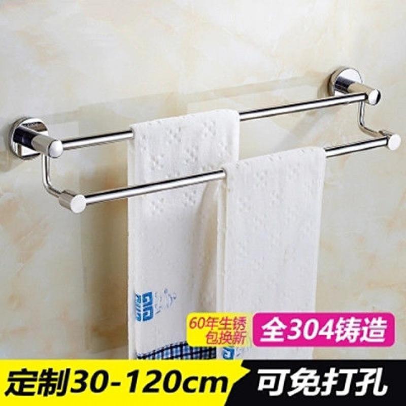 挂毛巾架304不锈钢浴室置物架子免打孔单杆毛巾双杆卫生间毛巾杆