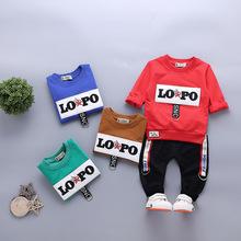 运动两件套1 B类12个月 4岁潮长袖 韩版 男童套装 春秋儿童T恤时尚图片