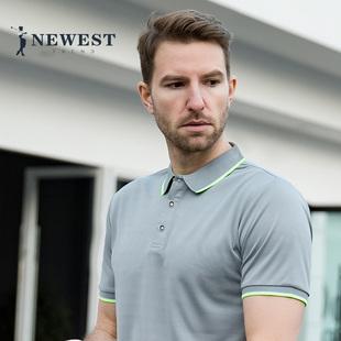 欧美风薄款速干运动Polo衫 2019新品翻领短袖t恤男士tshirt保罗