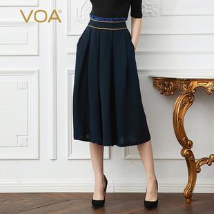 VOA 41姆米重磅真丝水手蓝木耳黄边中腰育克褶七分裙式纸袋裤K126