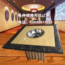 定制大理石火锅桌圆商用餐桌方桌欧式桌椅黄色白色各种颜色可订制