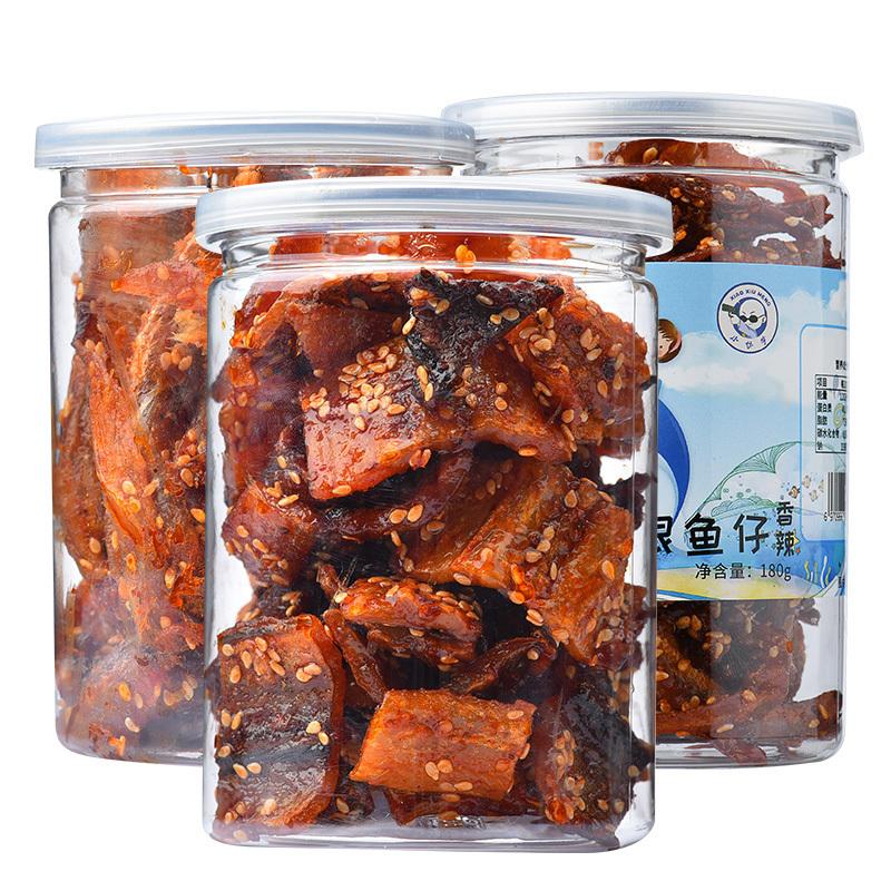 小休梦鳗鱼块香辣龙头鱼丝500g手撕银鱼仔条片仔海鲜小吃罐装零食