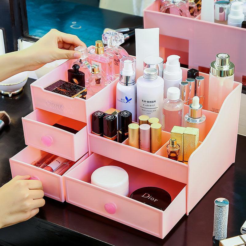 化妆品收纳盒抽屉桌面收纳盒大号化妆盒收纳盒塑料首饰收纳盒学生