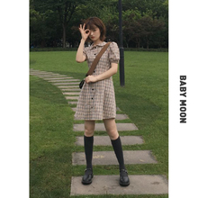 BABYMOON Cold Month/2019 New Summer Bubble Sleeve Sleeve Sleeve Slim Retro Chequered Doll Neck Dress