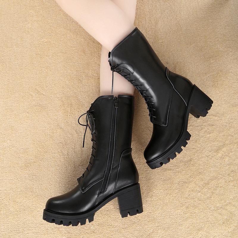 蜘蛛王官方欧美女鞋全皮粗跟马丁靴冬季加绒保暖高跟中筒靴皮毛一